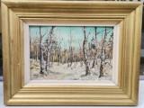 Tablou Hadimbu Peisaj de Pădure iarna pictura ulei inramata 35x46cm, Peisaje, Realism