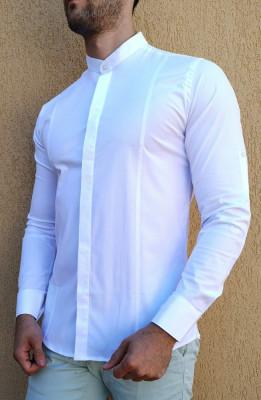 Camasa tunica - camasa alba slim fit camasa eleganta camasa barbat foto