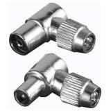 Set 2 mufe Hama 122481 conexiune coaxial Argintiu