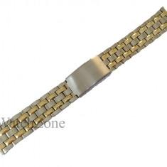 Bratara ceas argintie cu elemente aurii - 18mm WZ1451