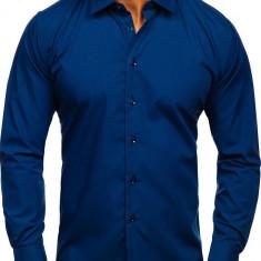Cămașă elegantă bărbați bleumarin Bolf 0001