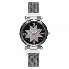 Ceas dama casual Geneva, CS1107, model Starry Sky, bratara magnetica, argintiu
