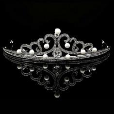 Tiara placata cu Aur 18K, Perle si Diamante, Ambrosia