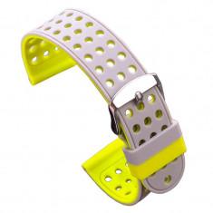 Curea silicon cu doua fete compatibila cu Smartwatch, 24mm, Gri/Galben