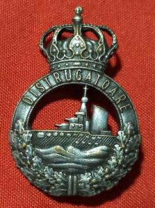 Insignă Marina Militară Regală,Distrugător,rară.