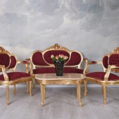 Set baroc din lemn auriu cu tapiterie rosie CAT499A35, Sufragerii si mobilier salon