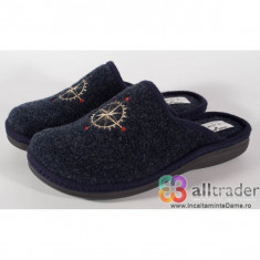 Papuci de casa bleumarini din lana pentru barbati/barbatesti (cod 191047)