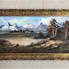 TABLOU  PICTURA IN ULEI -PEISAJ Munte si Lac