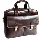 Servieta piele naturala vachetta, geanta portlaptop, coniac, S123