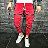Pantaloni pentru barbati de trening rosu conici banda jos cu siret alb fermoare decorative bumbac Z0008