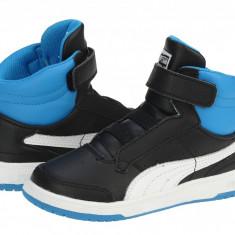Adidasi ghete copii Puma Full Court High V Kids black-white-brilliant blue 35399810, Baieti, 19, 20, 22, Negru