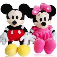 Mickey si Minnie Mouse roz set jucarii de plus muzicale 25cm