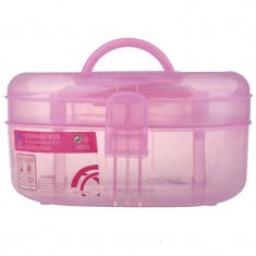 Geanta cosmetice din plastic P128, oglinda, roz