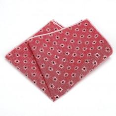 Batista buzunar pentru sacou, model floral, rosu corai si alb Red Dreams