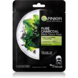 Garnier Skin Naturals Pure Charcoal mască textilă neagră, cu extract din alge marine