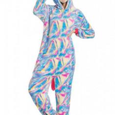 PJM159-45 Pijama pufoasa intreaga cu model unicorn multicolor