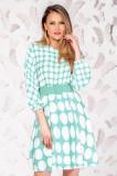 Rochie PrettyGirl turcoaz eleganta cu maneci trei-sferturi
