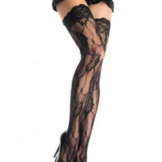 Ciorapi Cu Dantela Romantic Rose, Negru, Marime Universala