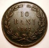 R.159 ROMANIA 10 BANI 1867 WATT