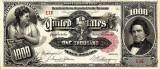 1000 dolari 1891 Reproducere Bancnota USD  ,   Dimensiune reala 1:1
