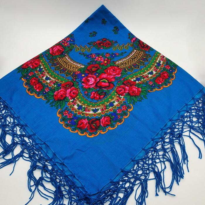 Batic etno mare - Imprimeu floral panza Albastra