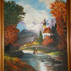 Tablou vechi in ulei/panza, pictor S. Teodor, 74x60 cm, rama noua din lemn