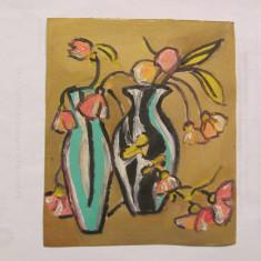 "CY Tablou mic ""Flori in Glastre"" u / c nesemnat & nedatat / cromatica deosebita"