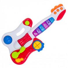Chitara de jucarie, cu lumini si sunete, 47x25x8 cm, multicolor