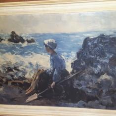 """Pictura veche in ulei pe panza N. Grigorescu """" Pescarita din Granville"""""""
