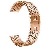Curea din metal compatibila cu Samsung Galaxy Watch 46mm, Telescoape QR, 22mm, Rose Gold