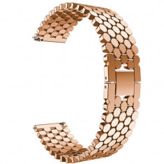Curea din metal compatibila cu Huawei Watch GT, Telescoape QR, 22mm, Rose Gold