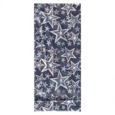 Punguţă de cadou argintie, din celofan, cu reflexii de curcubeu - stele