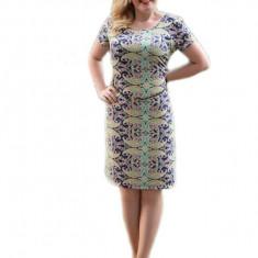 Rochie feminina de vara, bleumarin, cu imprimeu multicolor