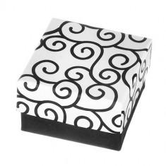 Cutie pentru cercei - suprafață cu negru și alb și model răsucit