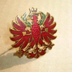 A266-Insigna Vultur cu coroana regala bronz emailat si aurit stare foarte buna.