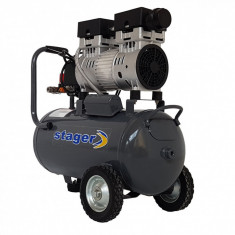 Stager HM0.75JW/24 compresor aer, 24L, 8bar, 165 L/min, monofazat, angrenare directa, silentios