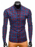 Camasa pentru barbati, bleumarin-rosu, cu model, slim fit, casual, carouri, cu guler - k399