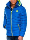 Cumpara ieftin Geaca pentru barbati, albastru, ideal ski, de iarna cu gluga si fermoar, model slim - c363