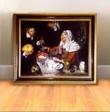 Tablou clasic pictat manual ulei pe panza, femeie batrana prajind oua Velazquez