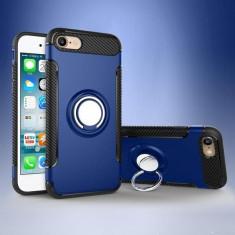 iPhone 7 sau 8 - Husa Blue Carbon Cu Inel Rotativ