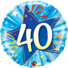 Balon aniversar 40 ani bleu din folie metalizata 43cm