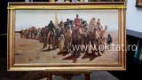 17 Exodul, peisaj cu evrei, tablou cu piramide. Peisaj cu desert 58x100cm