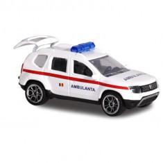 Masina de jucarie pentru copii - Macheta Dacia Duster Ambulanta Romana 7,5 cm