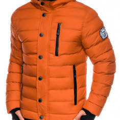 Geaca pentru barbati portocaliu ideal ski de iarna cu gluga fermoar si nasturi model slim c124