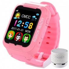 Ceas GPS Copii iUni Kid3, Telefon incorporat, Touchscreen 1.54 inch, Bluetooth, Notificari, Camera, Roz + Boxa Cadou
