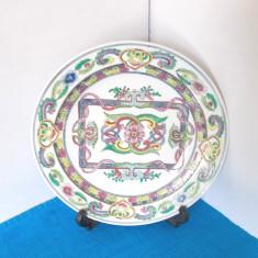 Farfurie portelan famille rose 4 cca 1880-1920 pictura manuala - marcaj Qianlong