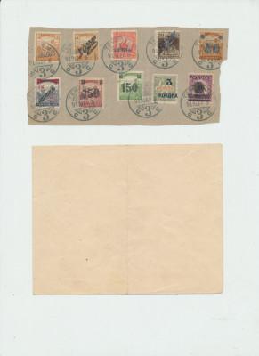1919 ROMANIA Banat emisiunea Timisoara 10 timbre stampilate pe fragment de plic foto