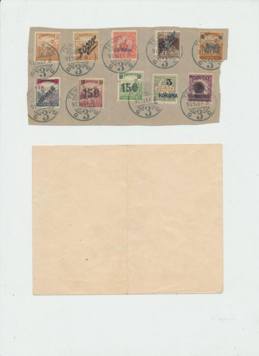 1919 ROMANIA Banat emisiunea Timisoara 10 timbre stampilate pe fragment de plic