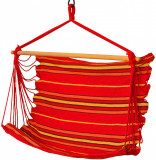Hamac Brazilian tip Scaun Suspendat pentru Curte sau Gradina, 100x100cm, Rosu/Galben