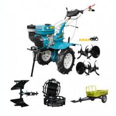Motocultor HS 1000B, roti metalice, plug reversibil, remorca 500kg